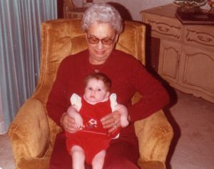 Little me and my Great-Grandma, maker of the sauce.