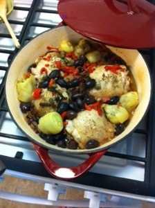Roasted Chicken Thighs with olives, artichokes, capers & sun dried tomato