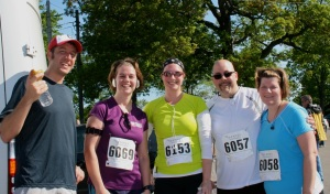 (l to r) Friends Dylan, Jess, Alison, Jim & Karen at Lakewood Ambulance Chase 5K 2012