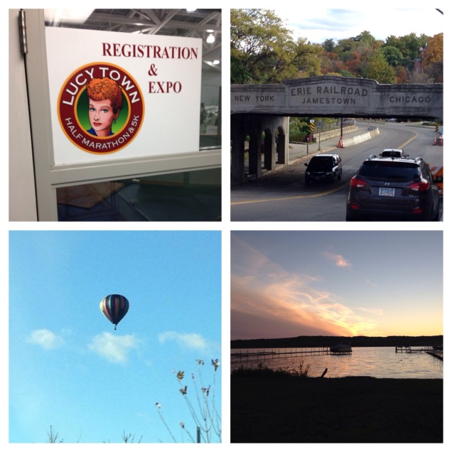Clockwise: Ice Rink Expo, Historic Railway in Jamestown, Sunset over Lake Chautauqua, a hot air balloon spotted near our cottage
