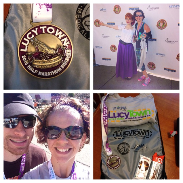 Clockwise: Grape-stomping medal, me and Lucy, Swag bag, Humphrey Half Marathoners